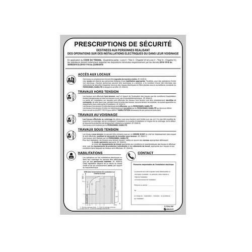 Affiche des Prescriptions de Sécurités  S755ALNM