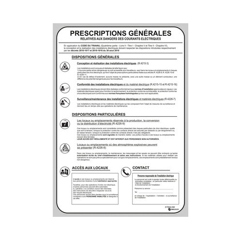Affiche des Prescriptions Générales Electrique S756ALNM