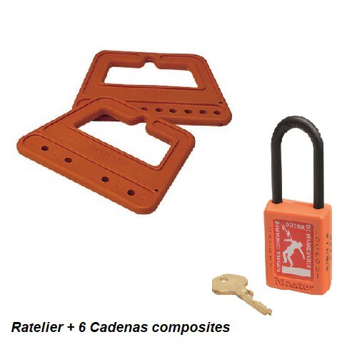 Jeu de 6 Cadenas sur Râtelier C35J6B240 + 1 clé