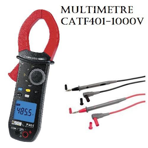 Multimètre + 2 cordons + + sonde + batteries + housse de transport 1000V